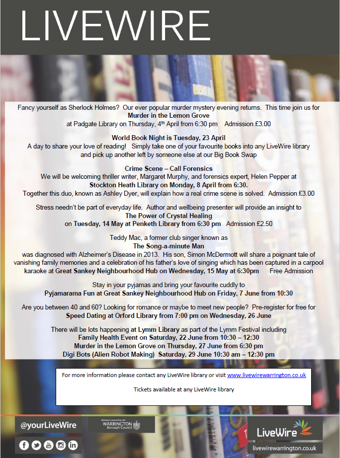 LiveWire library events April - June 2019 - Friends of